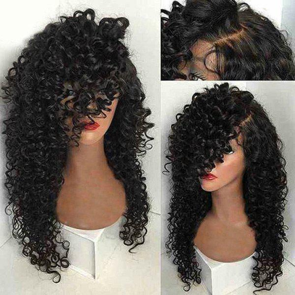 Long Side Parting Kinky Curly Synthetic WigHAIR<br><br>Color: NATURAL BLACK; Type: Full Wigs; Cap Construction: Capless (Machine-Made); Style: Kinky Curly; Material: Synthetic Hair; Bang Type: Side; Length: Long; Length Size(CM): 65; Weight: 0.3200kg; Package Contents: 1 x Wig;