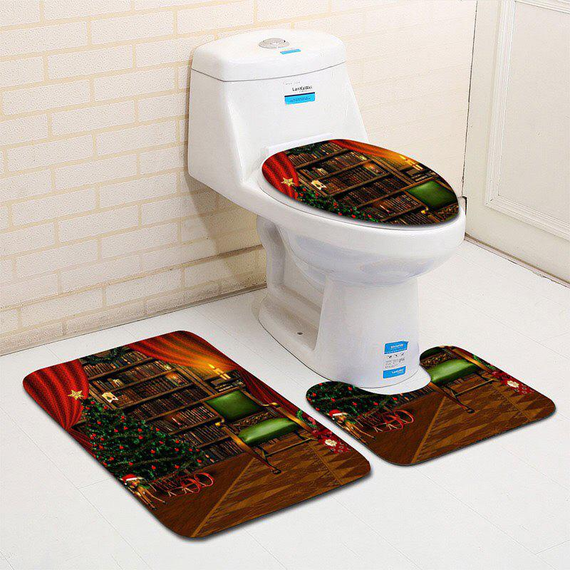 Fashion Flannel Christmas Theme Graphic 3PCS Bath Toilet Rugs Set