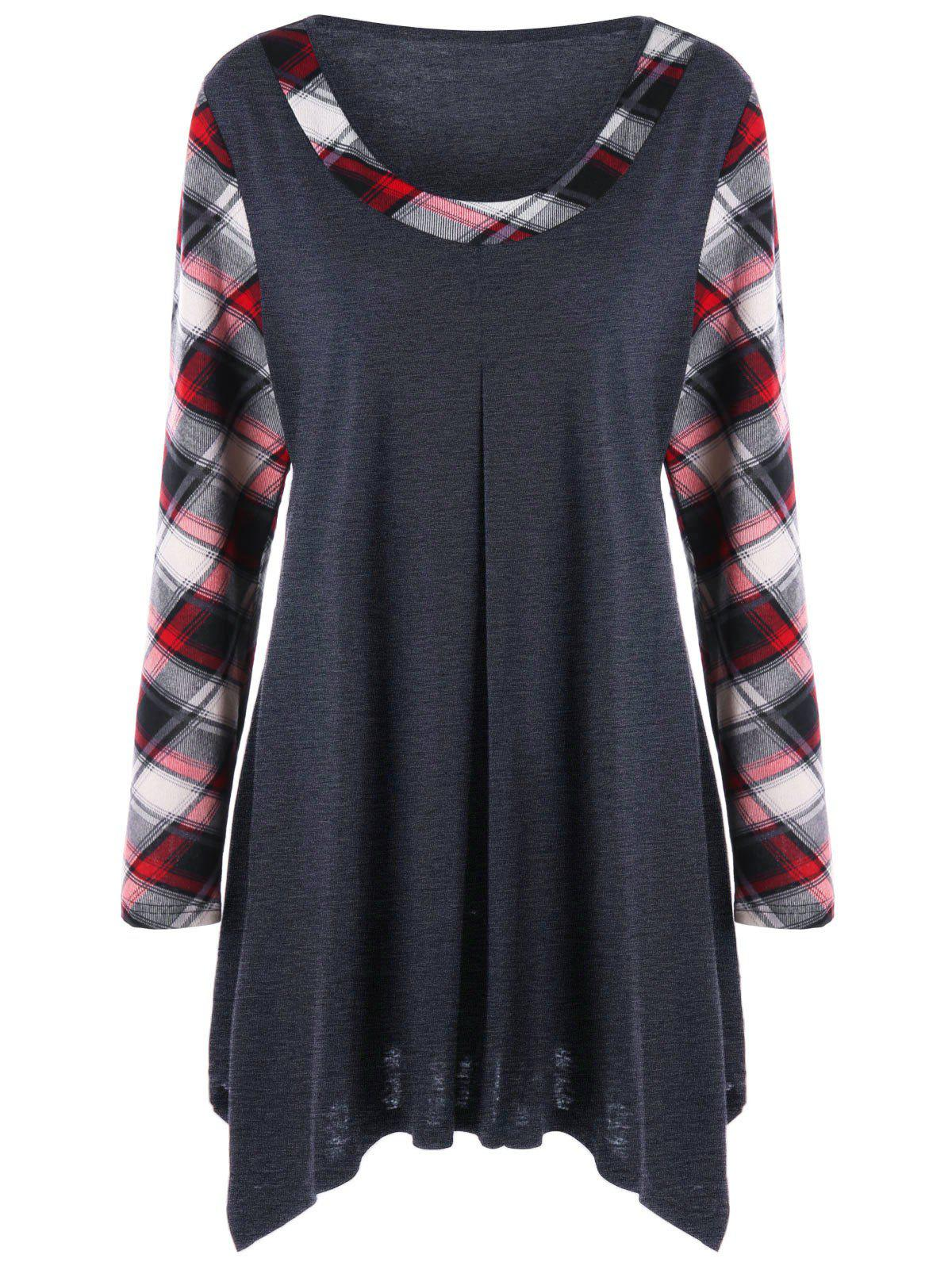 Plus Size Plaid Trim Tunic TopWOMEN<br><br>Size: 2XL; Color: BLACK GREY; Material: Spandex; Shirt Length: Long; Sleeve Length: Full; Collar: Scoop Neck; Style: Casual; Season: Fall,Spring; Pattern Type: Plaid; Weight: 0.3400kg; Package Contents: 1 x Top;