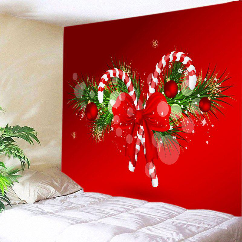 Christmas Candy Cane Print Tapestry Wall Hanging Art DecorationHOME<br><br>Size: W20 INCH * L59 INCH; Color: RED; Style: Festival; Theme: Christmas; Material: Polyester; Feature: Washable; Shape/Pattern: Bowknot,Plant; Weight: 0.3000kg; Package Contents: 1 x Tapestry;