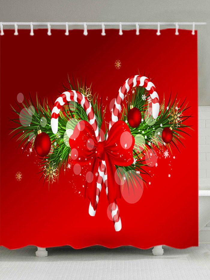 Christmas Candy Cane Print Waterproof Bathroom Shower CurtainHOME<br><br>Size: W71 INCH * L71 INCH; Color: RED; Products Type: Shower Curtains; Materials: Polyester; Pattern: Bowknot,Plant; Style: Festival; Number of Hook Holes: W59 inch*L71 inch: 10; W71 inch*L71 inch: 12; W71 inch*L79 inch: 12; Package Contents: 1 x Shower Curtain 1 x Hooks (Set);