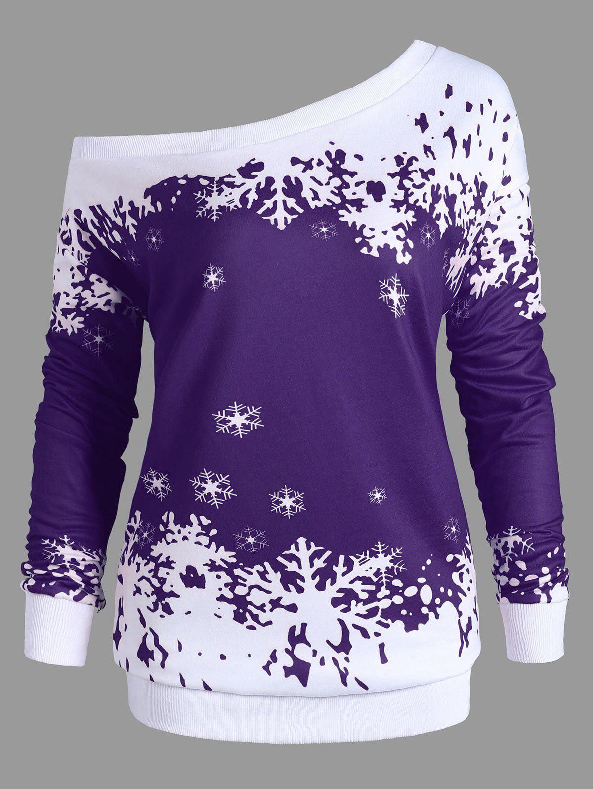 Plus Size One Shoulder Snowflake Christmas SweatshirtWOMEN<br><br>Size: 2XL; Color: PURPLE; Material: Polyester,Spandex; Shirt Length: Long; Sleeve Length: Full; Style: Fashion; Pattern Style: Others; Season: Fall,Spring; Weight: 0.4200kg; Package Contents: 1 x Sweatshirt;
