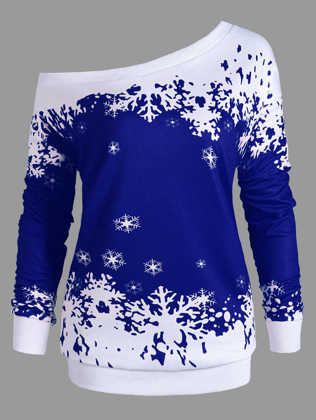 Plus Size One Shoulder Snowflake Christmas SweatshirtWOMEN<br><br>Size: 2XL; Color: BLUE; Material: Polyester,Spandex; Shirt Length: Long; Sleeve Length: Full; Style: Fashion; Pattern Style: Others; Season: Fall,Spring; Weight: 0.4200kg; Package Contents: 1 x Sweatshirt;