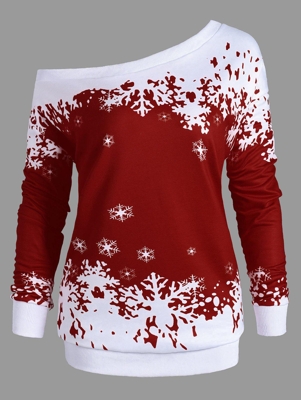 Plus Size One Shoulder Snowflake Christmas SweatshirtWOMEN<br><br>Size: 5XL; Color: WINE RED; Material: Polyester,Spandex; Shirt Length: Long; Sleeve Length: Full; Style: Fashion; Pattern Style: Others; Season: Fall,Spring; Weight: 0.4200kg; Package Contents: 1 x Sweatshirt;