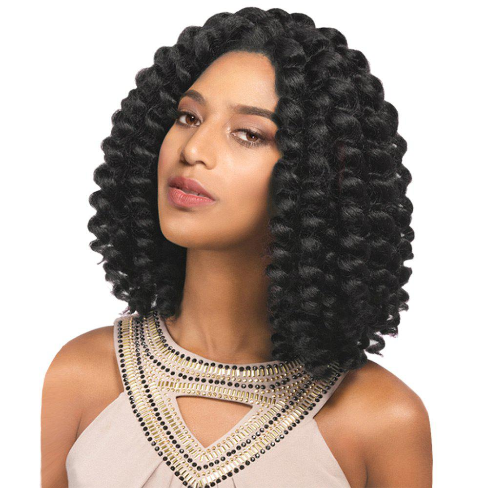 Medium Side Bang Twist Jumbo Braids Synthetic WigHAIR<br><br>Color: BLACK; Type: Full Wigs; Cap Construction: Capless (Machine-Made); Style: Braid Hair; Material: Synthetic Hair; Bang Type: Side; Length: Medium; Length Size(CM): 36; Weight: 0.3500kg; Package Contents: 1 x Wig;