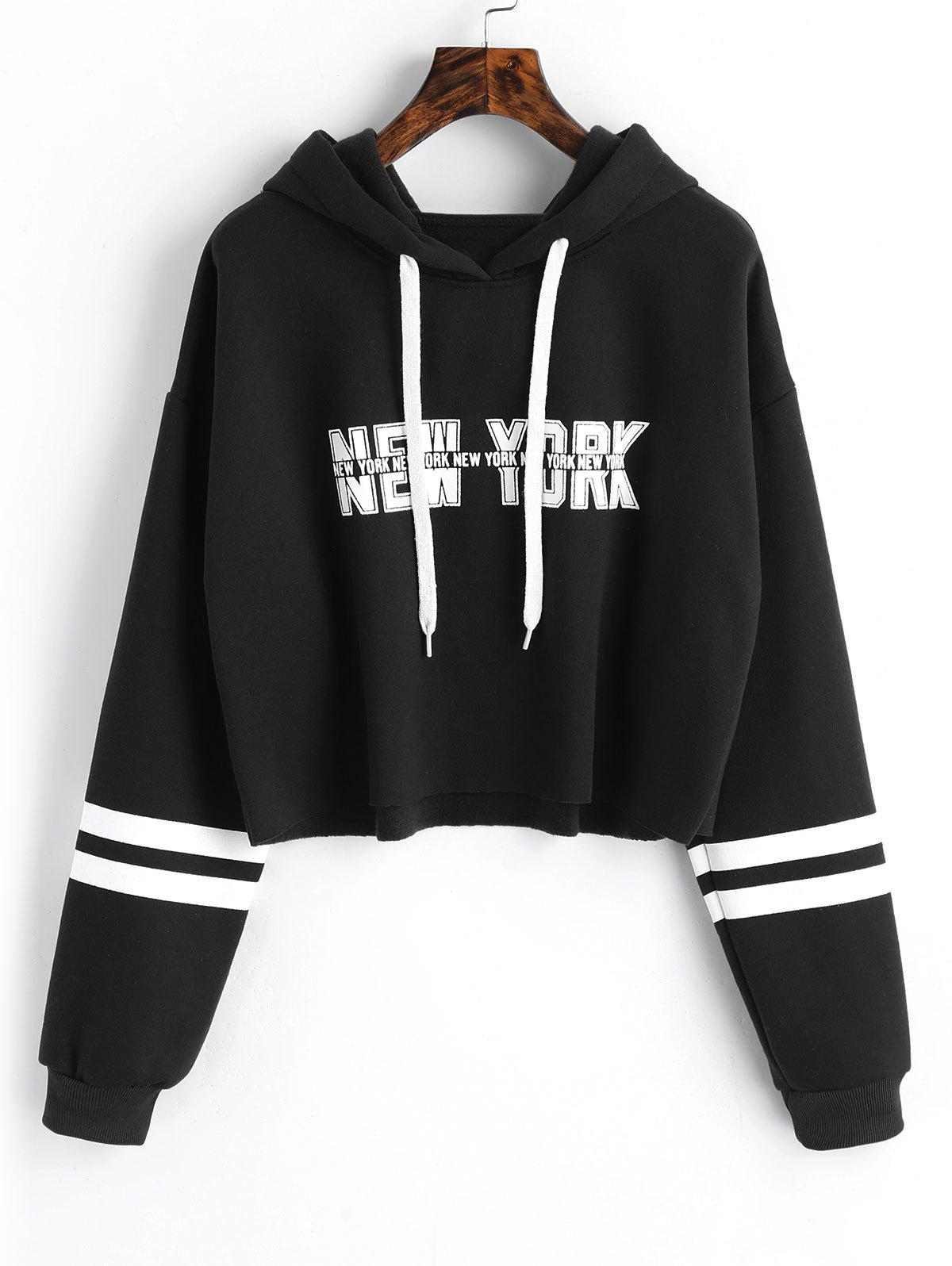 Store Striped New York Graphic Crop Hoodie