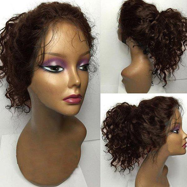 Discount Long Shaggy Curly Free Part Lace Front Human Hair Wig