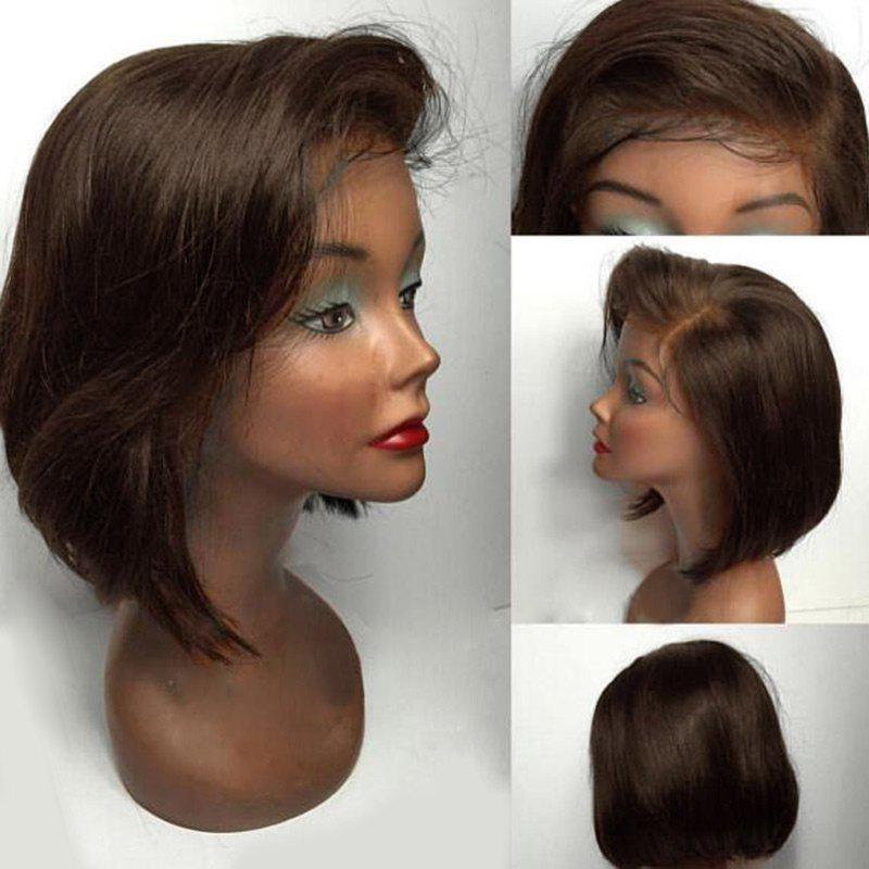 Short Straight Bob Side Part Lace Front Human Hair WigHAIR<br><br>Color: BROWN; Type: Full Wigs; Cap Construction: Lace Front; Style: Straight; Cap Size: Average; Material: Human Hair; Bang Type: Side; Length: Short; Lace Wigs Type: Lace Front Wigs; Occasion: Daily; Density: 130%; Length Size(Inch): 8; Weight: 0.1600kg; Package Contents: 1 x Wig;