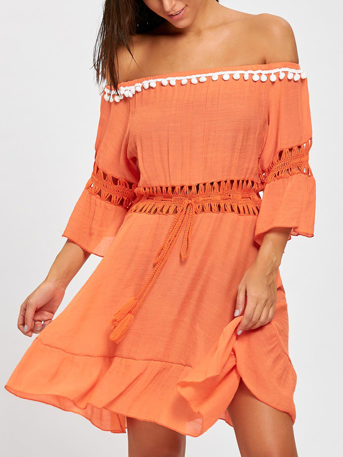 Flounce Off Shoulder Cover-up DressWOMEN<br><br>Size: ONE SIZE; Color: ORANGE RED; Cover-Up Type: Dress; Gender: For Women; Material: Polyester; Neckline: Off The Shoulder; Shirt Length: Short; Sleeve Length: 3/4 Length Sleeves; Pattern Type: Solid; Embellishment: Crochet; Weight: 0.2700kg; Package Contents: 1 x Dress;