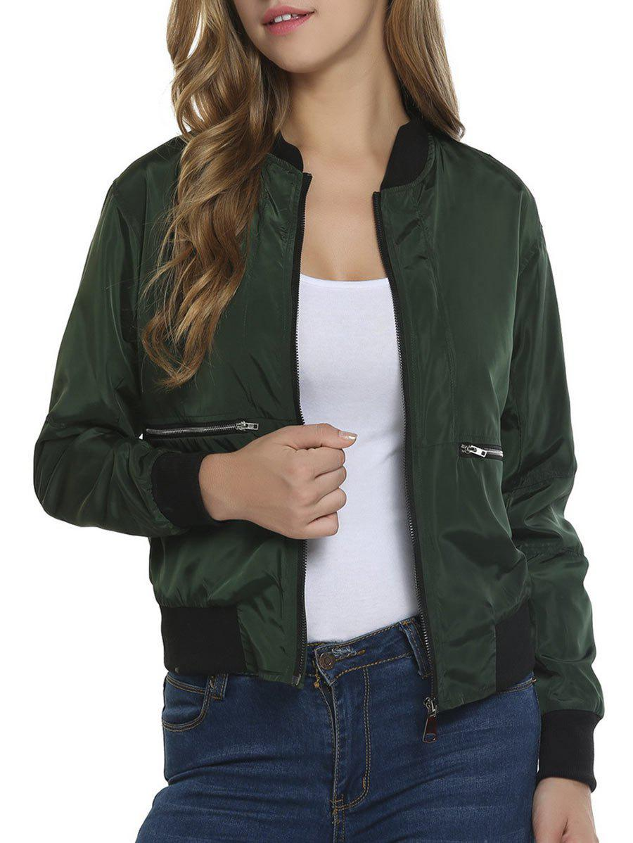 Fashion Contrast Zip Up Bomber Jacket