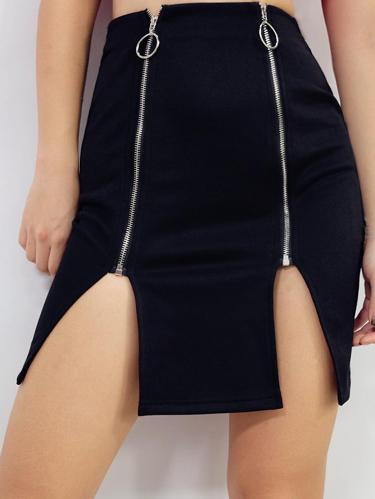 Cheap Slit High Waist Zip Up Bodycon Skirt