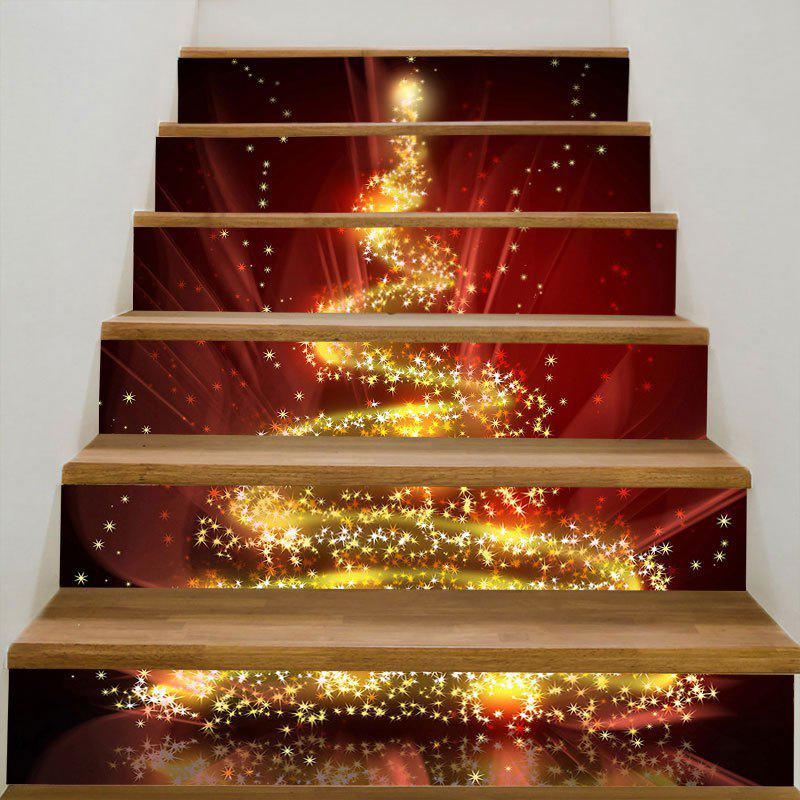 Fantasy Starlight Christmas Tree Pattern Stair StickersHOME<br><br>Size: 100*18CM*6PCS; Color: COLORFUL; Wall Sticker Type: Plane Wall Stickers; Functions: Stair Stickers; Theme: Christmas; Pattern Type: Christmas Tree,Star; Material: PVC; Feature: Removable; Weight: 0.3100kg; Package Contents: 6 x Stair Stickers (Pcs);