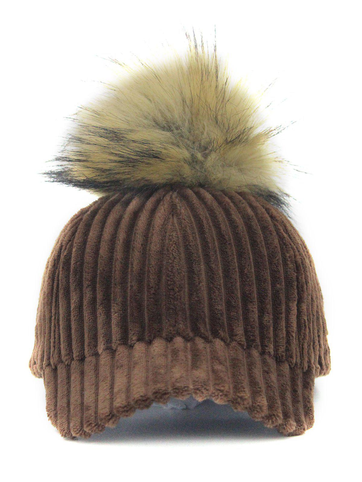 Buy Outdoor Removable Fuzzy Ball Embellished Corduroy Baseball Hat