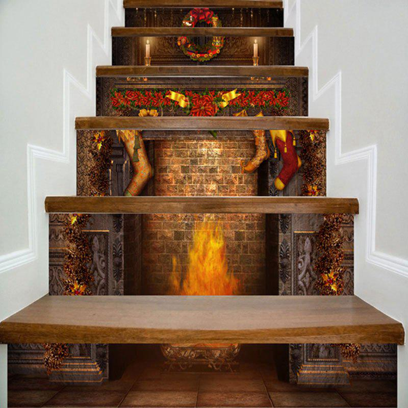 100 Awesome Christmas Stairs Decoration Ideas: [62% OFF] Christmas Fireplace Print DIY Decorative Stair