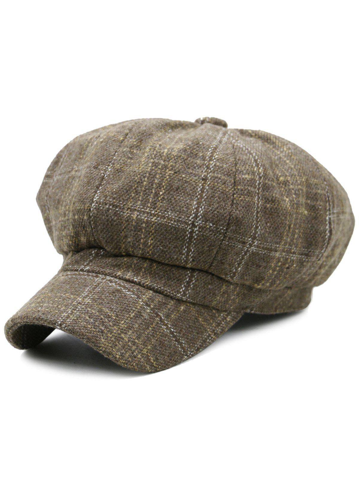Outdoor Tartan Pattern Embellished Newsboy HatACCESSORIES<br><br>Color: KHAKI; Hat Type: Beret; Group: Adult; Gender: For Women; Style: Fashion; Pattern Type: Plaid; Material: Wool; Weight: 0.1200kg; Package Contents: 1 x Hat;