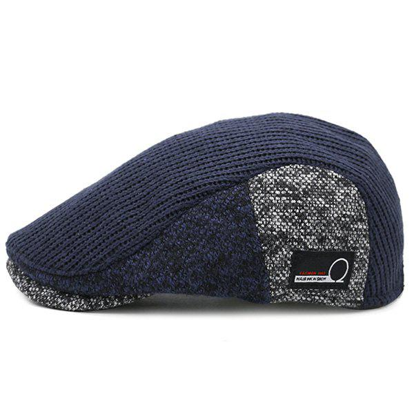 Trendy Outdoor Letter Label Pattern Knitted Newsboy Hat