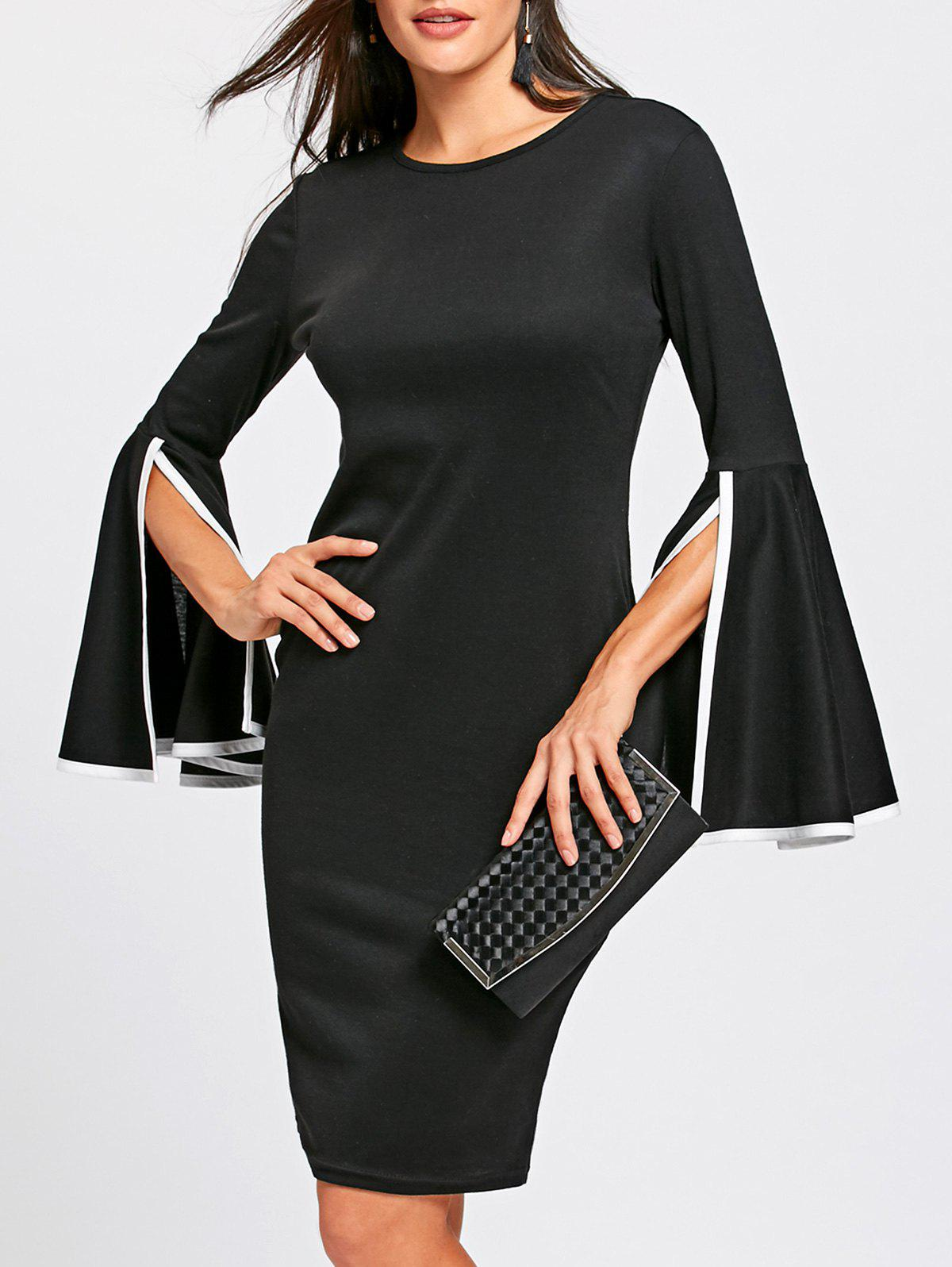 Best Split Bell Sleeve Pencil Dress