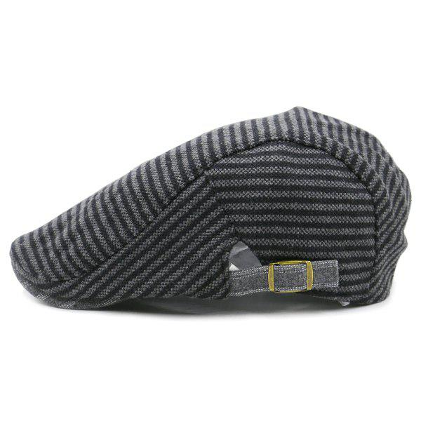 New Stripe Pattern Embellished Adjustable Cabbie Hat