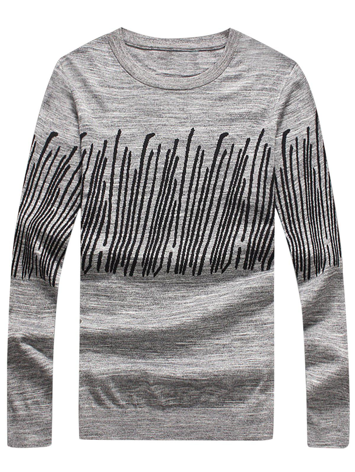 Store Stripe Jacquard Long Sleeve Pullover Sweater