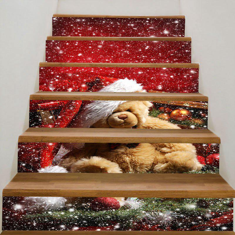Furry Bear with Christmas Hat Stair StickersHOME<br><br>Size: 100*18CM*6PCS; Color: COLORFUL; Wall Sticker Type: Plane Wall Stickers; Functions: Stair Stickers; Theme: Christmas; Pattern Type: Animal,Christmas Tree,Snow; Material: PVC; Feature: Removable; Weight: 0.3100kg; Package Contents: 6 x Stair Stickers (Pcs);
