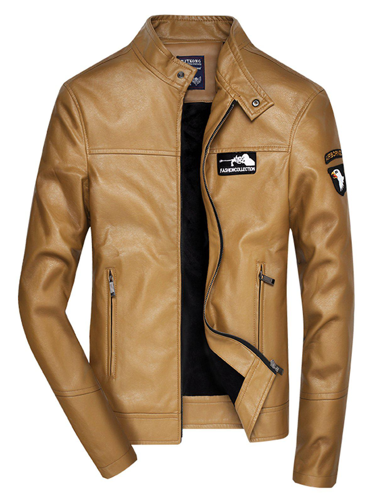 Cheap Embroidered Zip Up Faux Leather Jacket