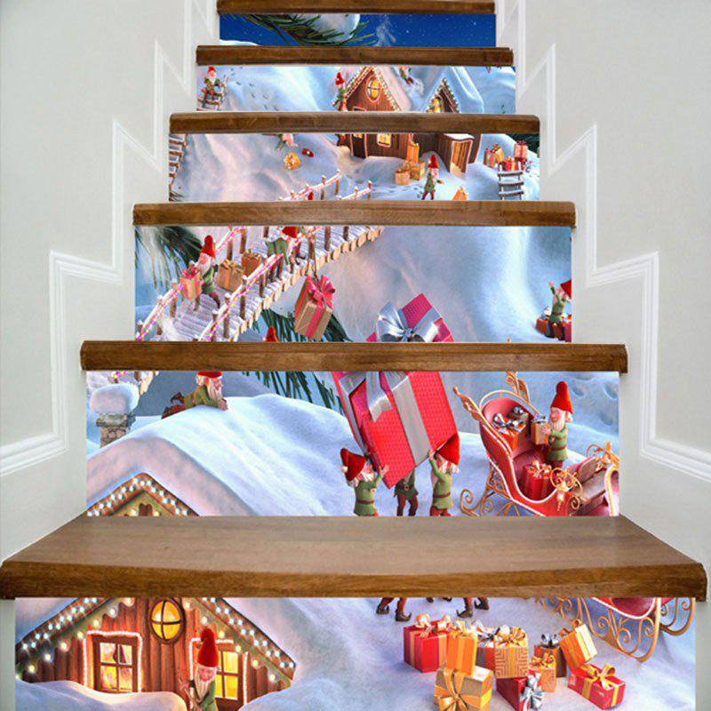 Snowfield Christmas Cottages Printed DIY Decorative Stair StickersHOME<br><br>Size: 100*18CM*6PCS; Color: WHITE; Wall Sticker Type: 3D Wall Stickers; Functions: Stair Stickers; Theme: Christmas; Pattern Type: Print; Material: PVC; Feature: Removable; Weight: 0.4000kg; Package Contents: 6 x Stair Stickers (Pcs);