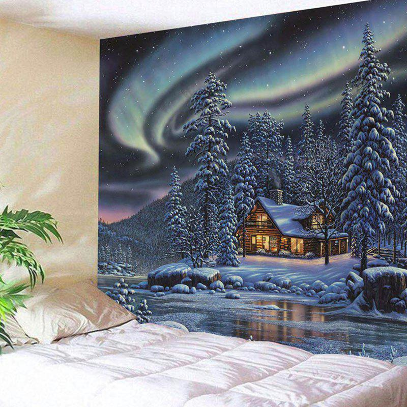 Snowy Trees Cabin River Aurora Printed Wall Hanging TapestryHOME<br><br>Size: W91 INCH * L71 INCH; Color: COLORMIX; Style: Natural; Theme: Landscape; Material: Polyester; Feature: Removable,Washable; Shape/Pattern: Tree; Weight: 0.4200kg; Package Contents: 1 x Tapestry;