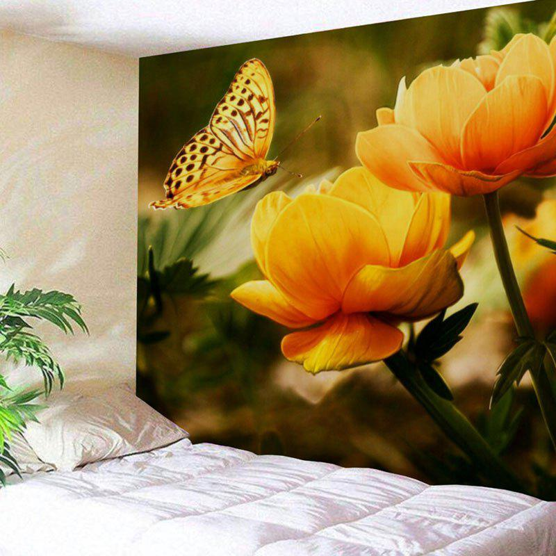 Wall Art Butterfly and Flower Print Polyester TapestryHOME<br><br>Size: W71 INCH * L71 INCH; Color: COLORMIX; Style: Natural; Theme: Butterfly Theme; Material: Polyester; Feature: Removable,Washable; Shape/Pattern: Butterfly,Floral; Weight: 0.3100kg; Package Contents: 1 x Tapestry;