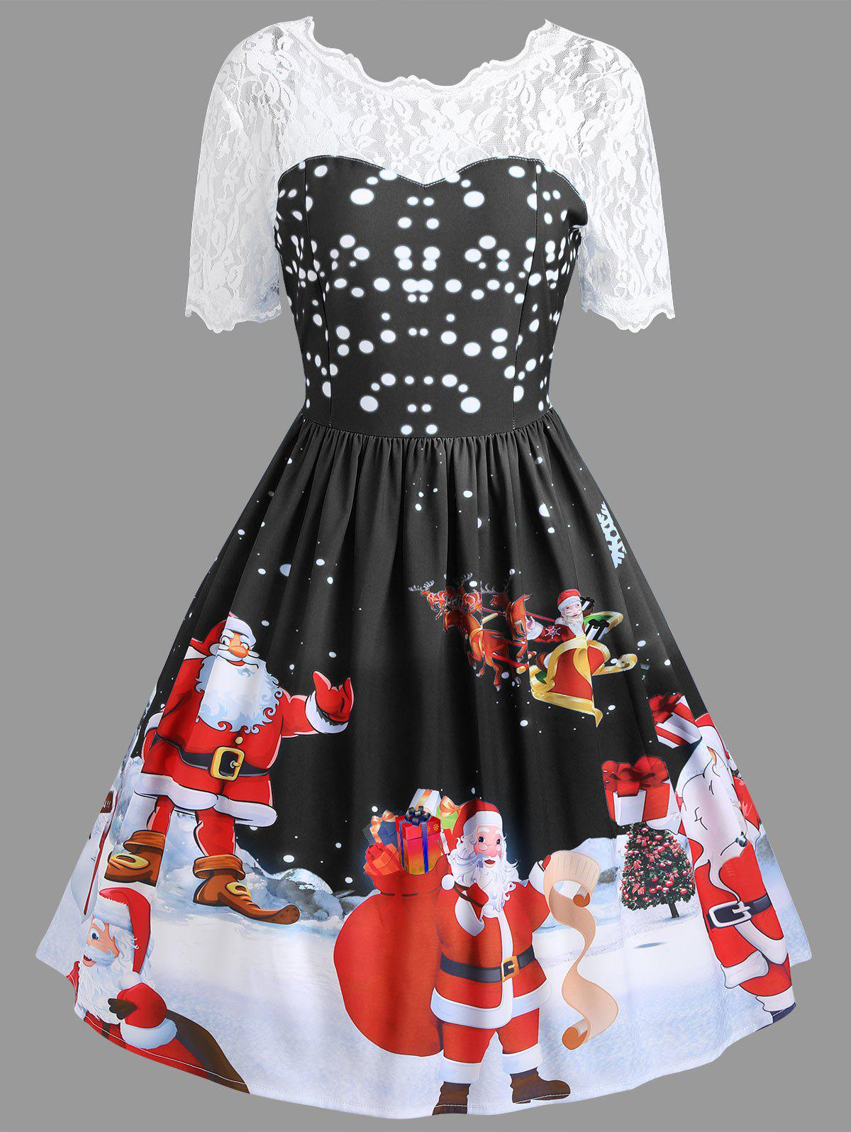 Vintage Lace Insert Santa Claus Print Christmas DressWOMEN<br><br>Size: XL; Color: BLACK; Style: Vintage; Material: Polyester,Spandex; Silhouette: A-Line; Dresses Length: Knee-Length; Neckline: Round Collar; Sleeve Length: Short Sleeves; Pattern Type: Patchwork,Print; With Belt: No; Season: Fall,Spring; Weight: 0.3500kg; Package Contents: 1 x Dress;