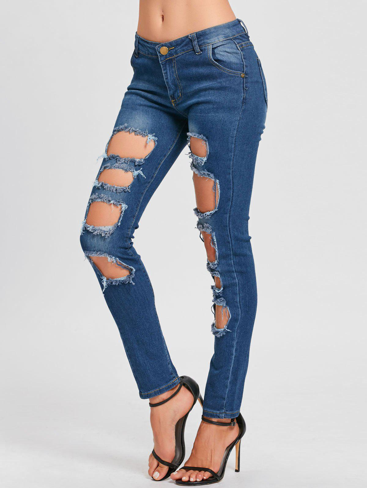 Hot Skinny Hole Distressed Jeans