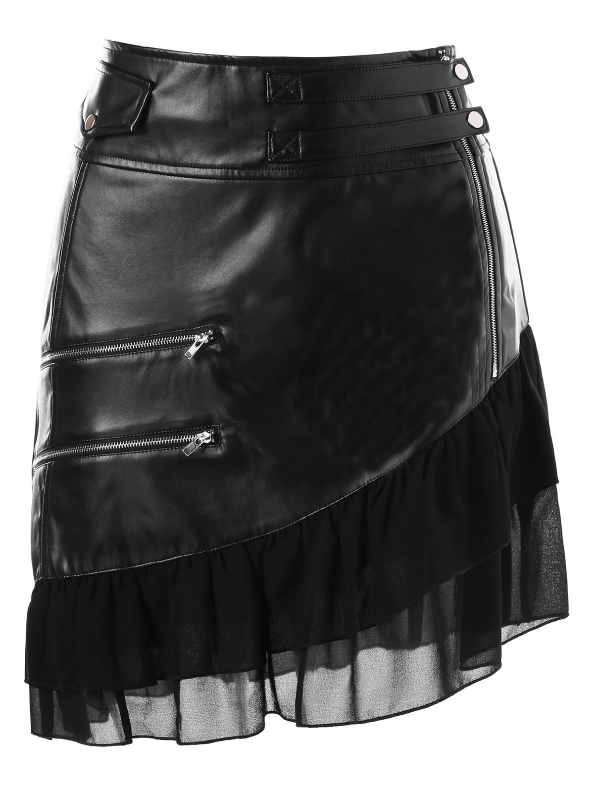 Zipper Flounce Panel Faux Leather SkirtWOMEN<br><br>Size: L; Color: BLACK; Material: Faux Leather,Polyester; Length: Mini; Silhouette: A-Line; Pattern Type: Others; Embellishment: Flounce,Zippers; Season: Fall,Spring,Winter; With Belt: No; Weight: 0.4300kg; Package Contents: 1 x Skirt;