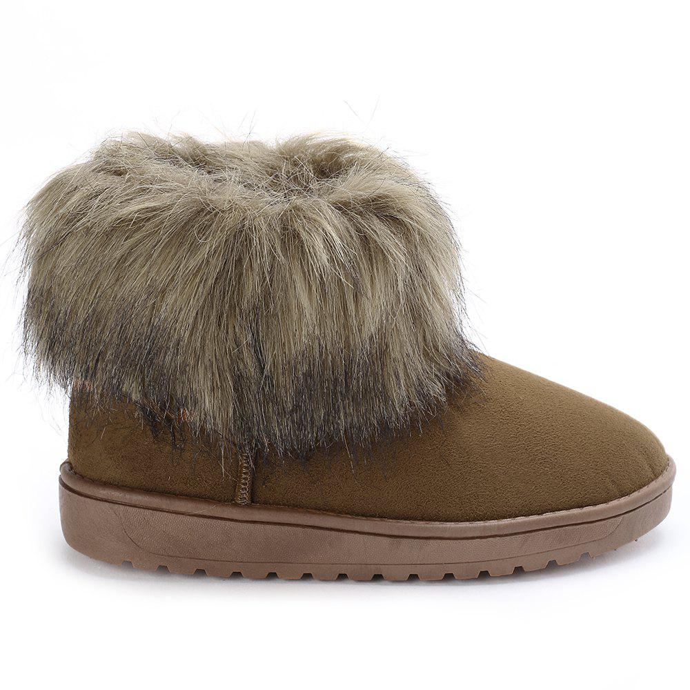 Chic Faux Fur Flat Ankle Snow Boots