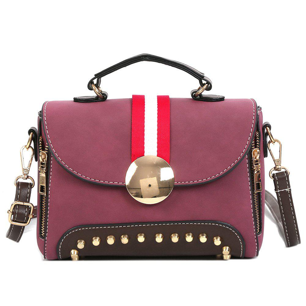 New Color Block Striped Studs Crossbody Bag