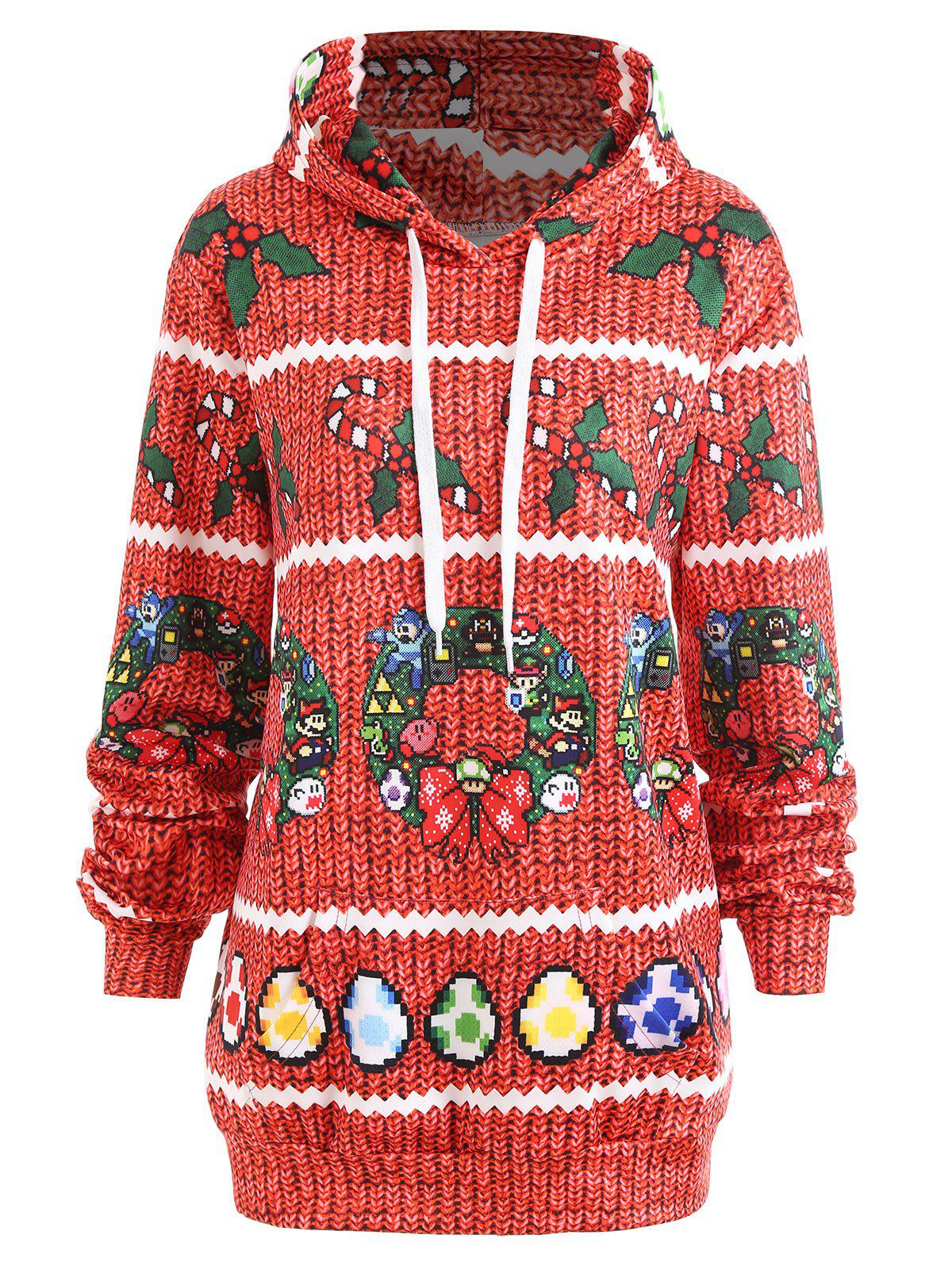 Trendy Christmas Berry Bowknot Printed Plus Size Hoodie
