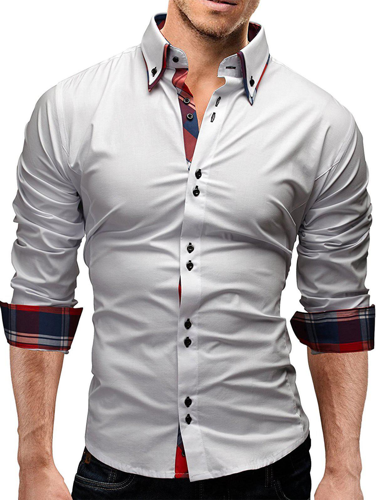 Double Layer Button Down Collar ShirtMEN<br><br>Size: XL; Color: WHITE; Shirts Type: Casual Shirts; Material: Cotton,Polyester; Sleeve Length: Full; Collar: Turndown Collar; Pattern Type: Checkered; Weight: 0.2800kg; Package Contents: 1 x Shirt;