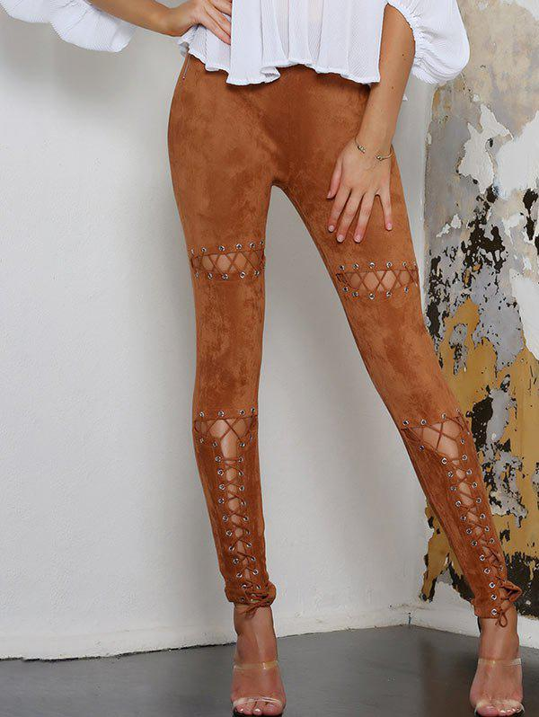 Shops Faux Suede Lace Up Skinny Pants