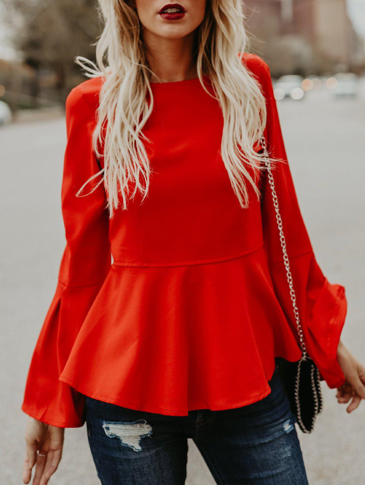 Trendy Flare Sleeve Skinny Waisted Peplum Top