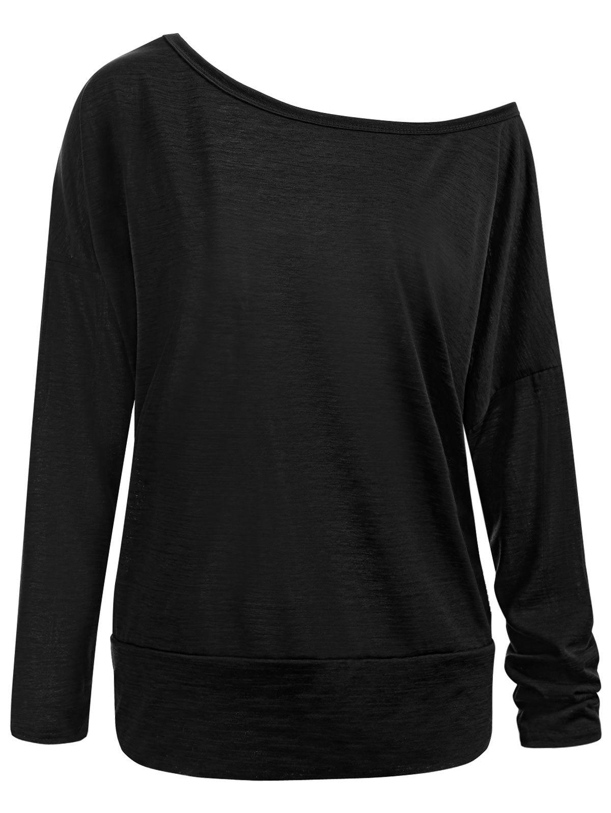 Plus Size Skew Neck Long Sleeve Basic T-shirt, Black
