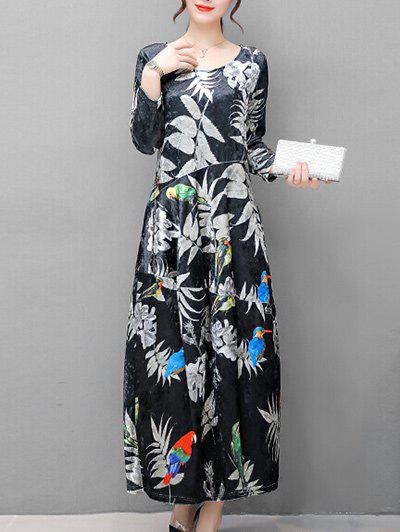 Affordable Plant Birds Printed Long Sleeve Maxi Dress