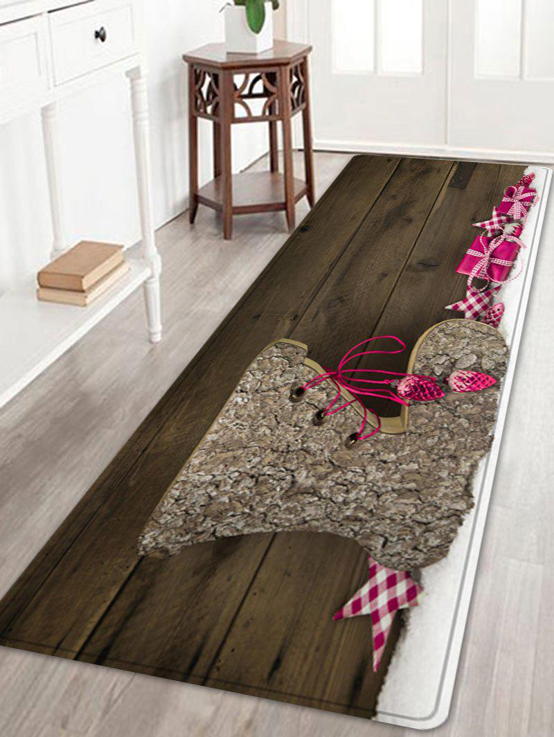 Christmas Wood Shoe Pattern Anti-skid Water Absorption Area RugHOME<br><br>Size: W24 INCH * L71 INCH; Color: WOOD; Products Type: Bath rugs; Materials: Flannel; Pattern: Gift,Star; Style: Festival; Shape: Rectangle; Package Contents: 1 x Rug;