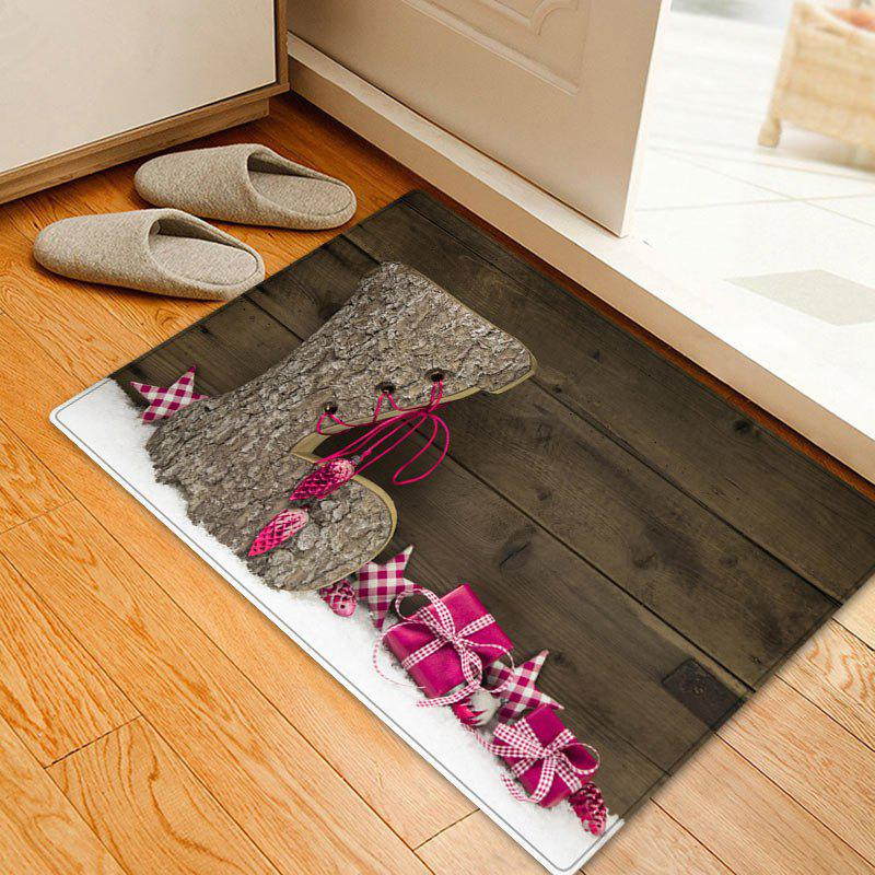 Best Christmas Wood Shoe Pattern Anti-skid Water Absorption Area Rug