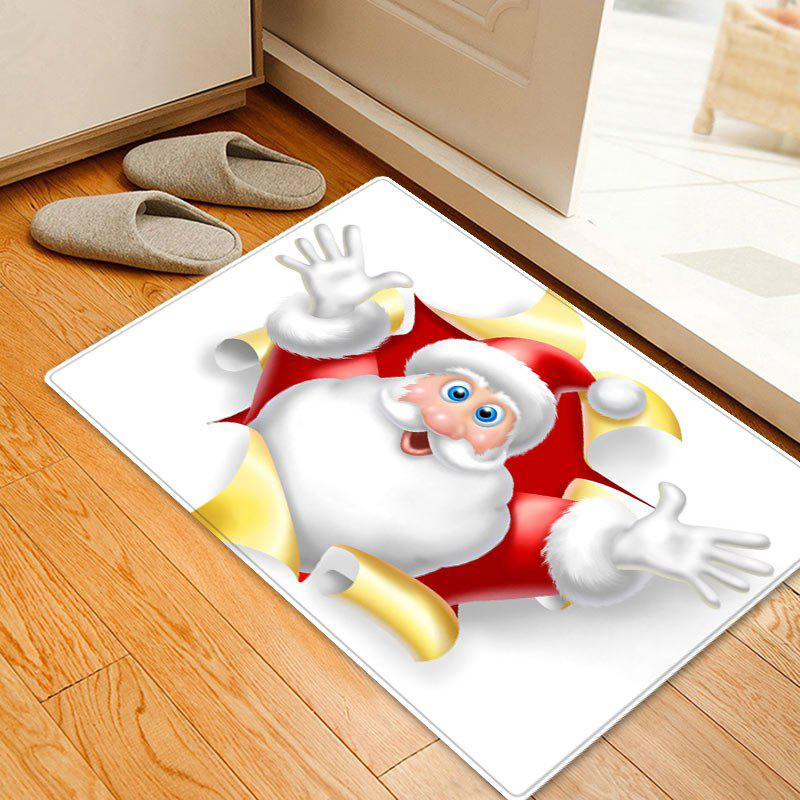 Christmas Santa Broken Pattern Anti-skid Water Absorption Area RugHOME<br><br>Size: W16 INCH * L24 INCH; Color: WHITE; Products Type: Bath rugs; Materials: Flannel; Pattern: Santa Claus; Style: Festival; Shape: Rectangle; Package Contents: 1 x Rug;
