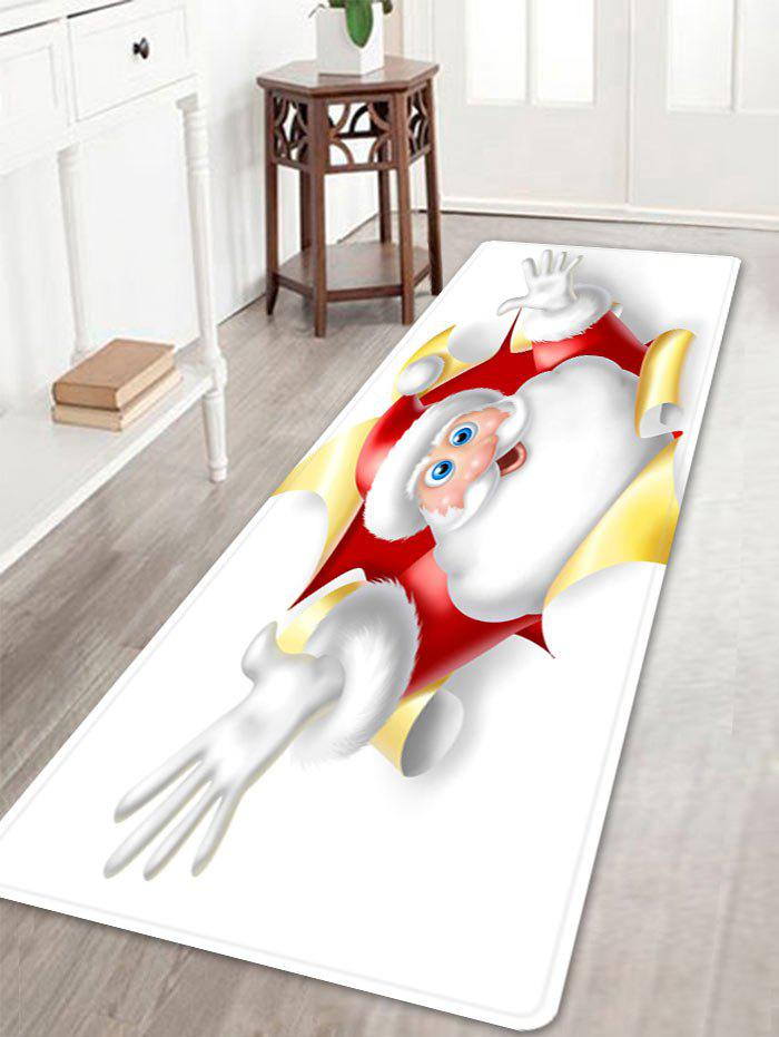 Christmas Santa Broken Pattern Anti-skid Water Absorption Area RugHOME<br><br>Size: W16 INCH * L47 INCH; Color: WHITE; Products Type: Bath rugs; Materials: Flannel; Pattern: Santa Claus; Style: Festival; Shape: Rectangle; Package Contents: 1 x Rug;