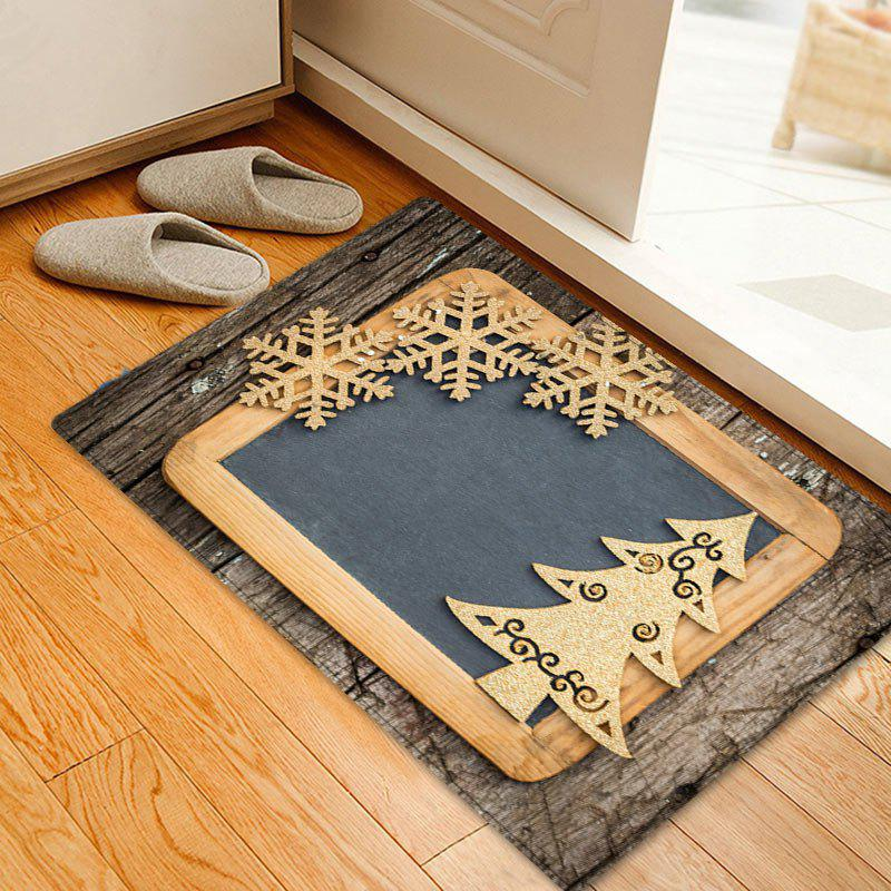 Christmas Woodgrain Tree Pattern Anti-skid Water Absorption Area RugHOME<br><br>Size: W16 INCH * L24 INCH; Color: COLORMIX; Products Type: Bath rugs; Materials: Flannel; Pattern: Snowflake,Wood Grain; Style: Festival; Shape: Rectangle; Package Contents: 1 x Rug;