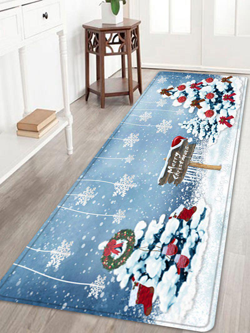 Christmas Trees Snowflakes Pattern Anti-skid Water Absorption Area RugHOME<br><br>Size: W24 INCH * L71 INCH; Color: COLORMIX; Products Type: Bath rugs; Materials: Flannel; Pattern: Christmas Tree,Letter; Style: Festival; Shape: Rectangle; Package Contents: 1 x Rug;