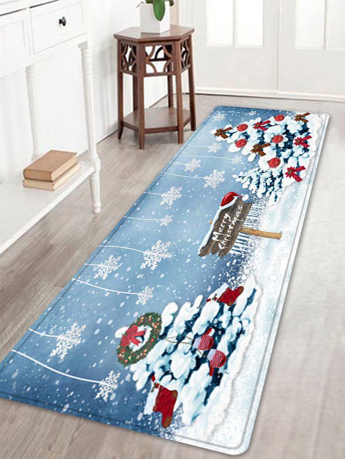 Christmas Trees Snowflakes Pattern Anti-skid Water Absorption Area RugHOME<br><br>Size: W16 INCH * L47 INCH; Color: COLORMIX; Products Type: Bath rugs; Materials: Flannel; Pattern: Christmas Tree,Letter; Style: Festival; Shape: Rectangle; Package Contents: 1 x Rug;