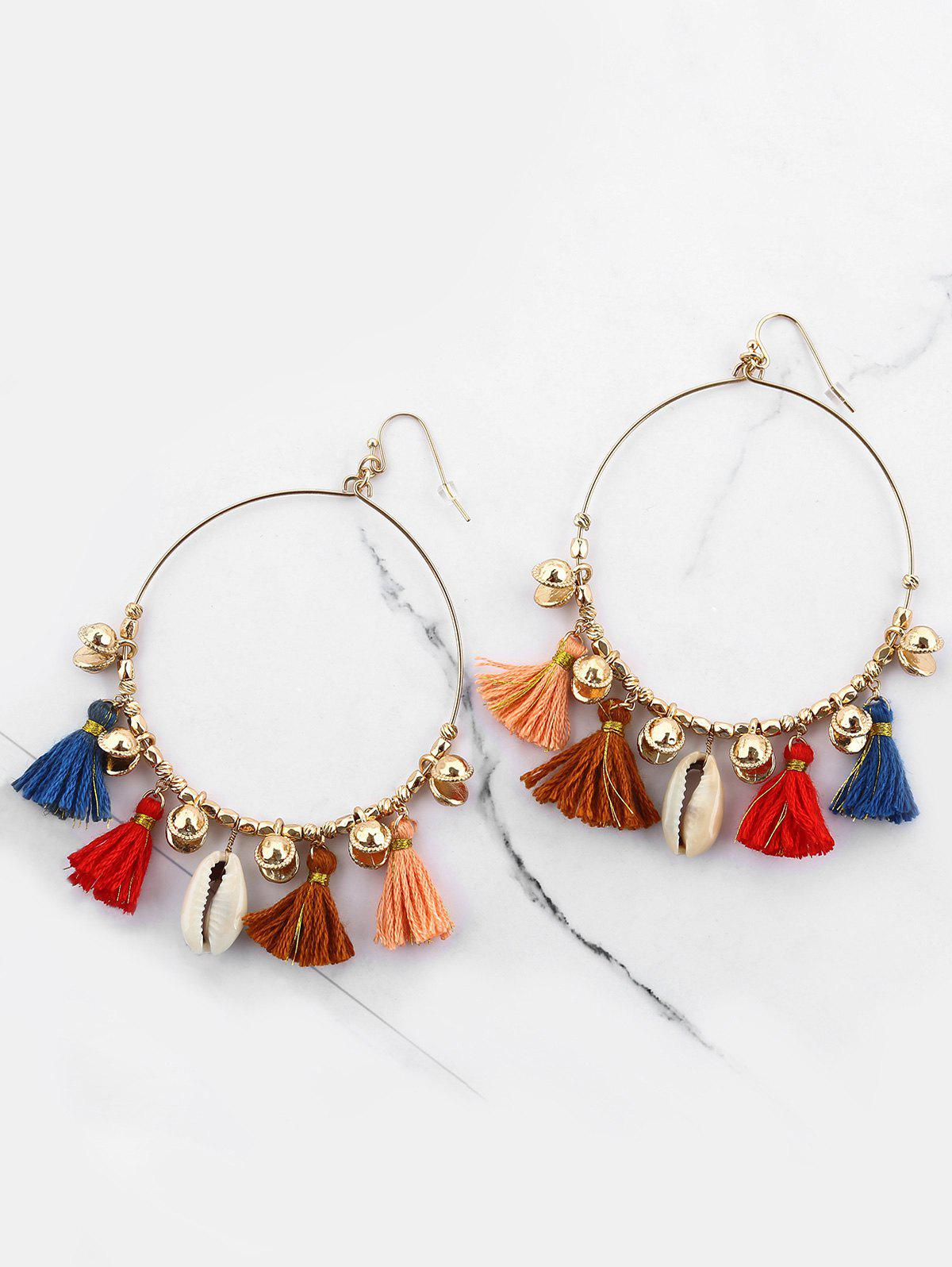 Affordable Bohemian Circle Tassel Shell Hook Earrings
