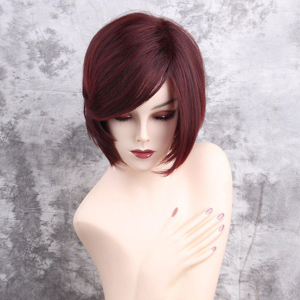 Inclined Bang Short Straight Synthetic WigHAIR<br><br>Color: WINE RED; Type: Full Wigs; Cap Construction: Capless; Style: Straight; Material: Synthetic Hair; Bang Type: Side; Length: Short; Length Size(CM): 29; Weight: 0.1500kg; Package Contents: 1 x Wig;