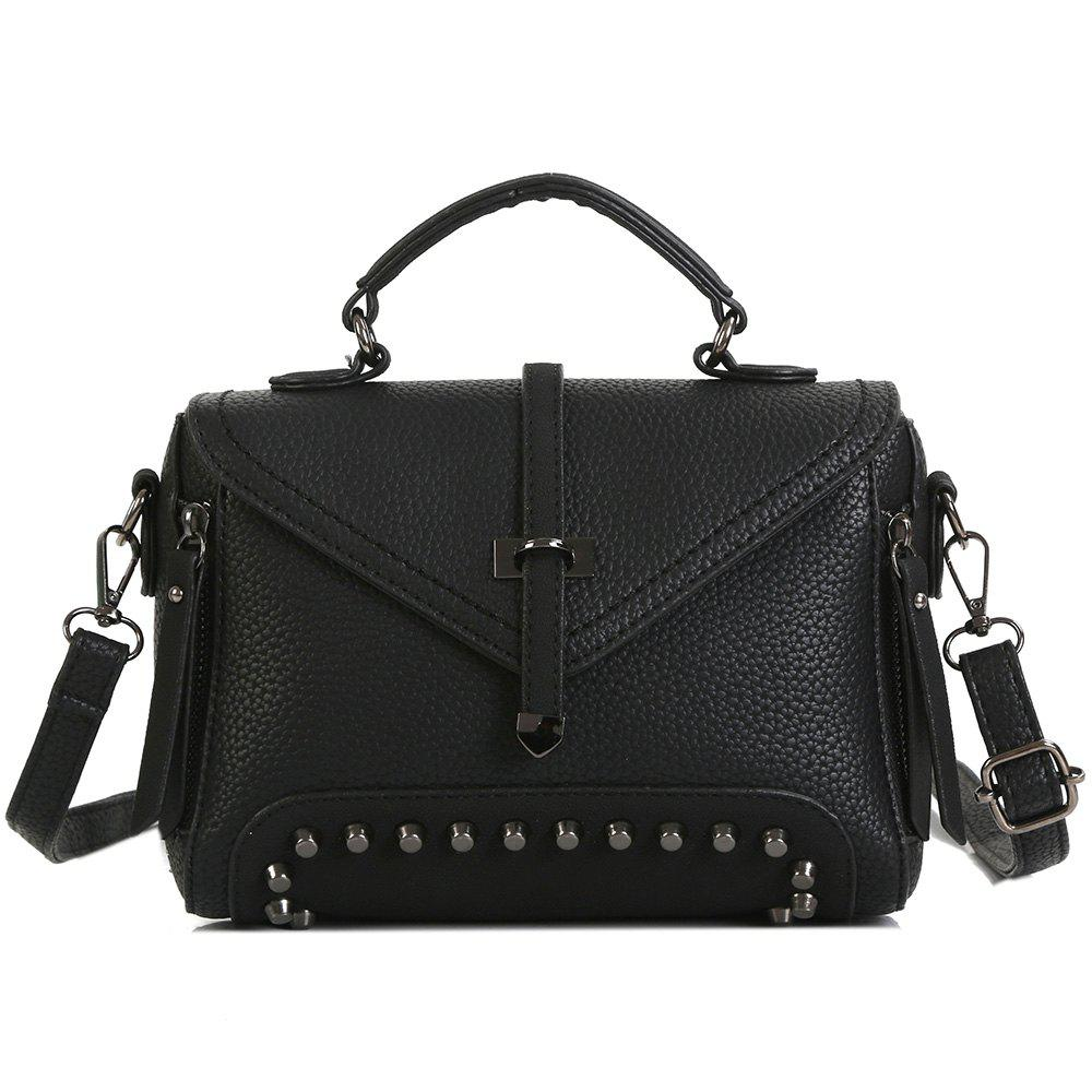 Faux Leather Studs Crossbody BagSHOES &amp; BAGS<br><br>Color: BLACK; Handbag Type: Crossbody bag; Style: Fashion; Gender: For Women; Embellishment: Rivet; Pattern Type: Geometric; Handbag Size: Small(20-30cm); Closure Type: Cover; Occasion: Versatile; Main Material: PU; Weight: 0.6000kg; Package Contents: 1 x Crossbody Bag; Package Size(L x W x H): 30.00 x 5.00 x 20.00 cm / 11.81 x 1.97 x 7.87 inches;