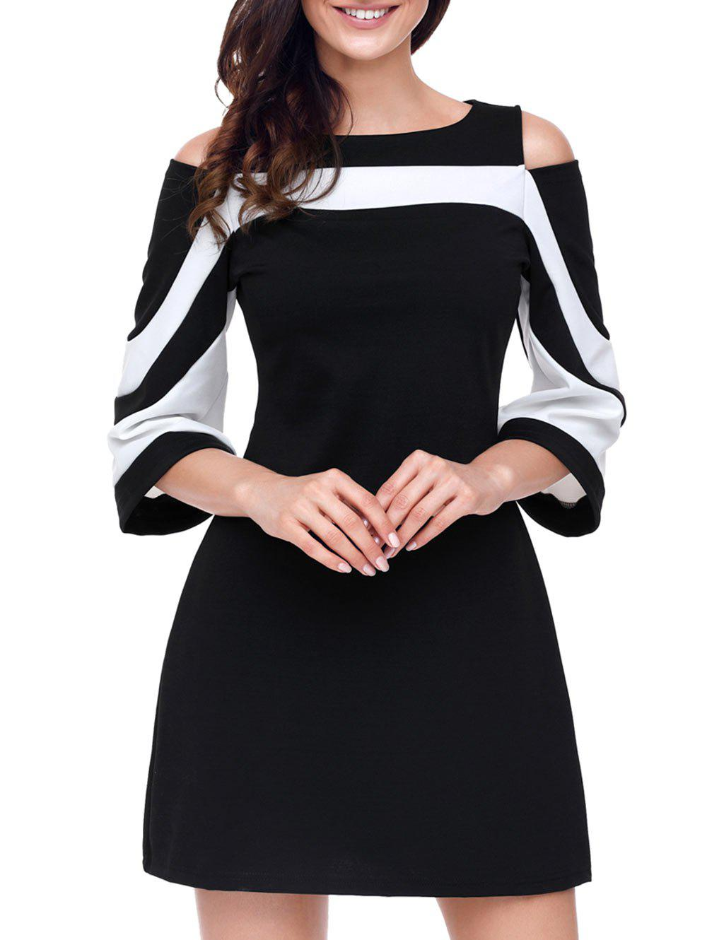 Cold Shoulder Two Tone A-line DressWOMEN<br><br>Size: L; Color: BLACK; Style: Brief; Material: Polyester,Spandex; Silhouette: A-Line; Dresses Length: Mini; Neckline: Boat Neck; Sleeve Type: Cold Shoulder; Sleeve Length: 3/4 Length Sleeves; Pattern Type: Others; With Belt: No; Season: Fall,Spring; Weight: 0.5500kg; Package Contents: 1 x Dress; Occasion: Casual ,Office;